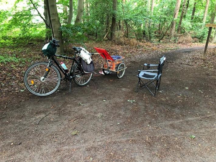 Fahrrad mit Anhänger Wald Darß