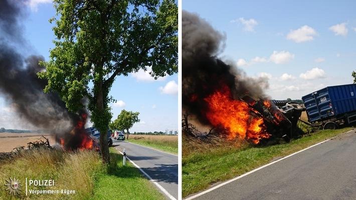 Lkw-Brand nach Verkehrsunfall